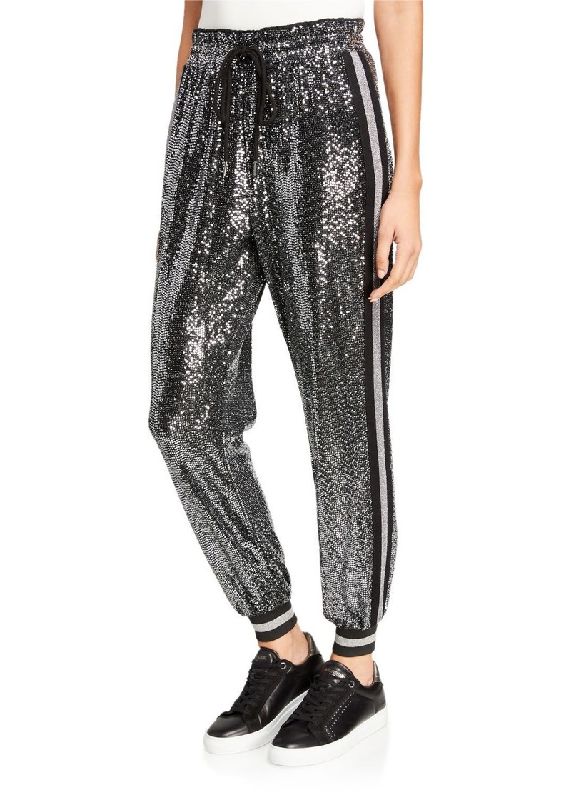 Pam & Gela Mirror Ball Sequined Side-Stripe Jogger Pants