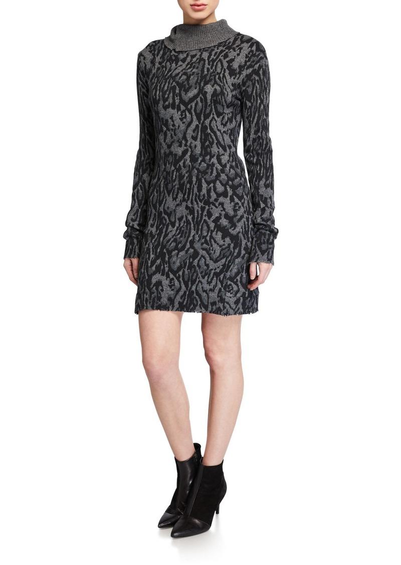 Pam & Gela Ocelot-Print Mock-Neck Long-Sleeve Dress