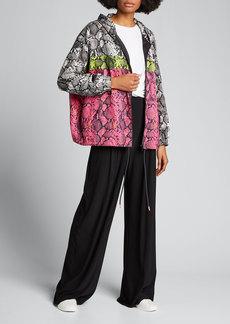 Pam & Gela Colorblocked Snake-Print Wind-Resistant Jacket