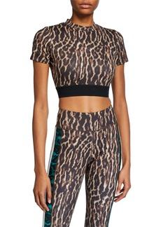 Pam & Gela Leopard Short-Sleeve Crop Top