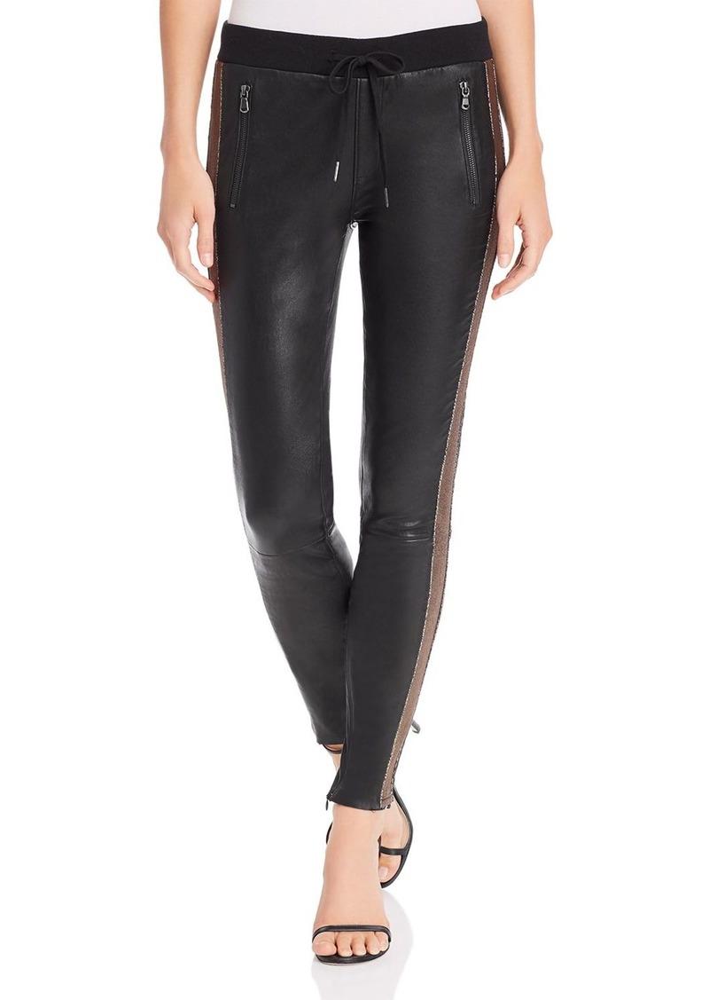PAM & GELA Metallic-Stripe Leather Leggings