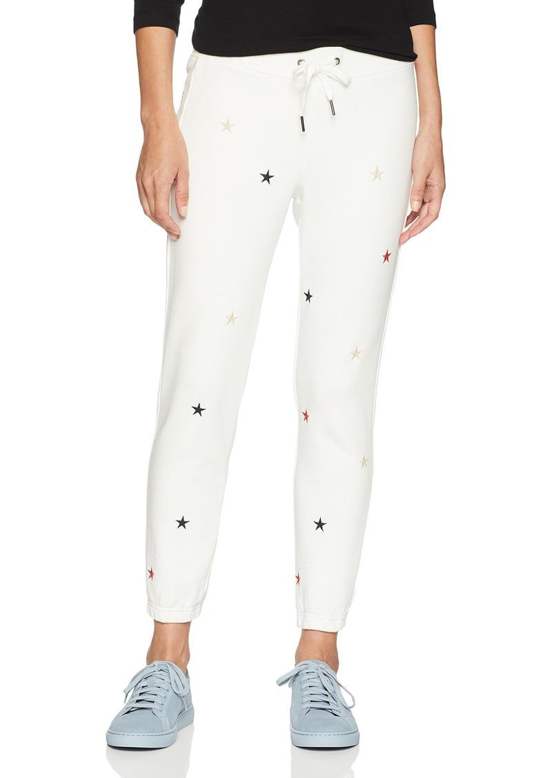 Pam & Gela Women's Basic Sweatpant W/Embroidered Stars Off  M