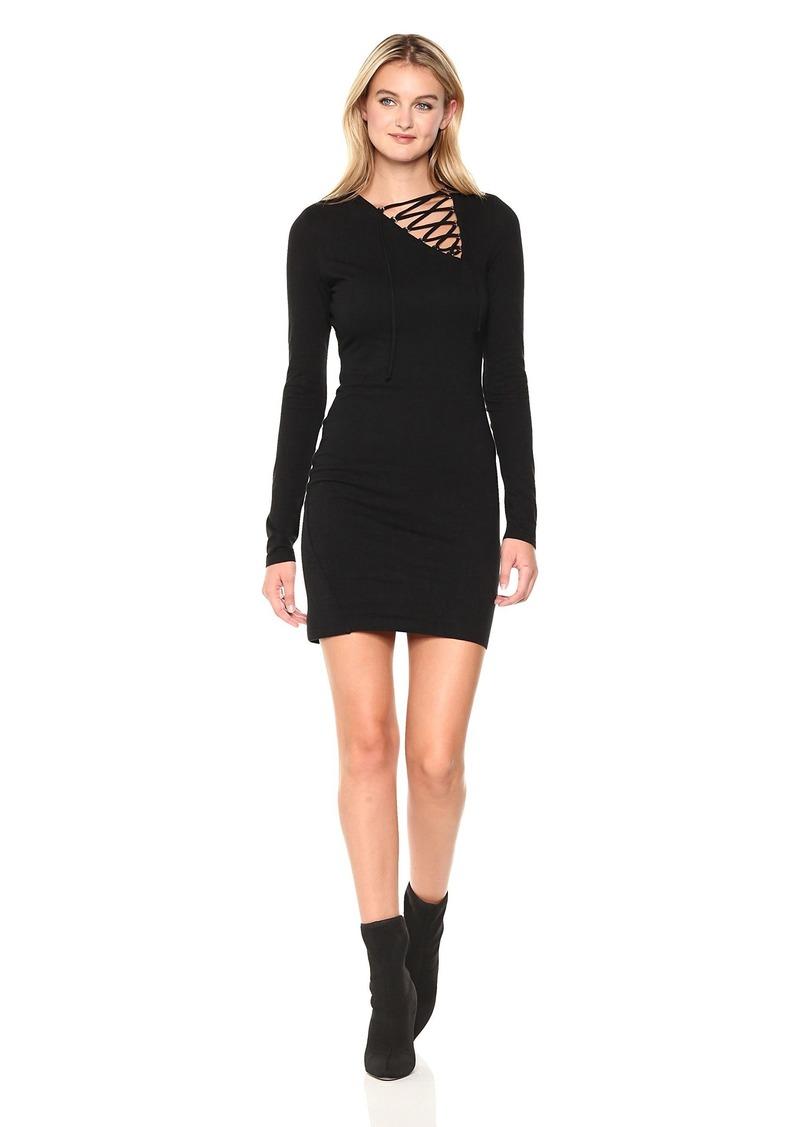 Pam & Gela Women's L/s Asymetric Lace Up Detail Dress  S
