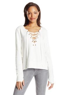 Pam & Gela Women's Side Slit Lace up Sweatshirt  S