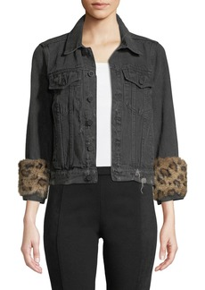 Pam & Gela Rabbit-Fur Cuffed Denim Jacket