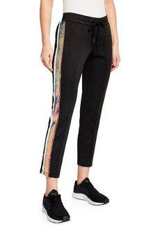 Pam & Gela Sequined-Stripe Cropped Track Pants