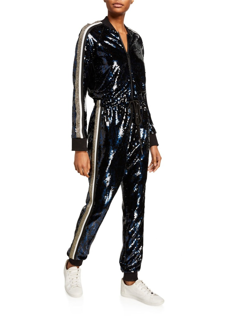 Pam & Gela Sequined Zip-Front Jumpsuit with Side Stripes