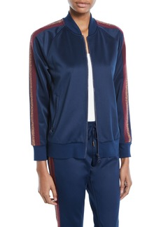 Pam & Gela Zip-Front Track Jacket w/ Metallic Stripes
