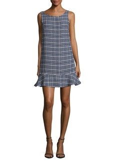 Paper Crown Houndstooth Print Shift Dress