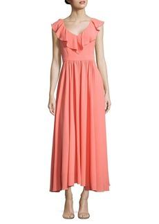 Paper Crown Keira Ruffled Crepe Maxi Dress
