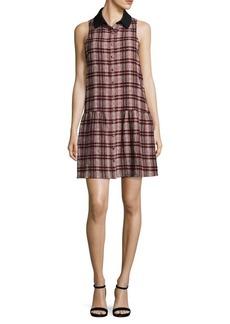 Paper Crown Plaid Button Front Shift Dress