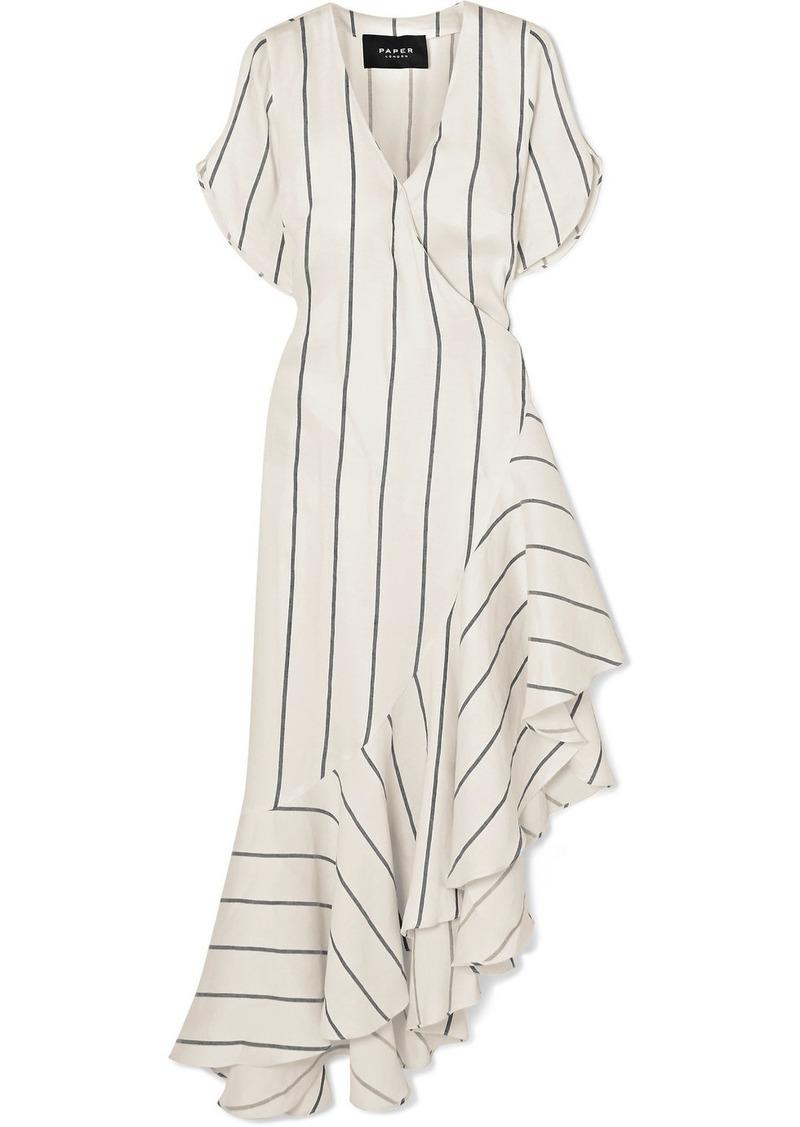 PAPER London Asymmetric Striped Linen-blend Wrap Dress