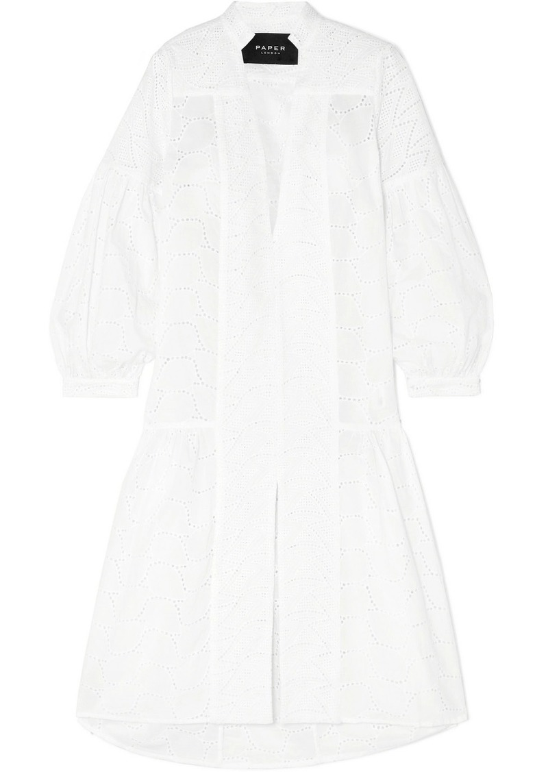 PAPER London Broderie Anglaise Cotton Midi Dress