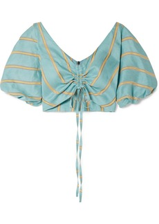 PAPER London Caicos Cropped Gathered Striped Linen-blend Top