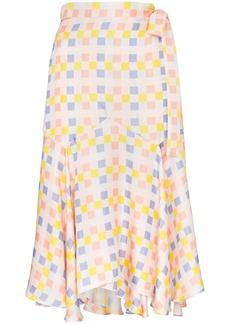 PAPER London check wrap midi-skirt