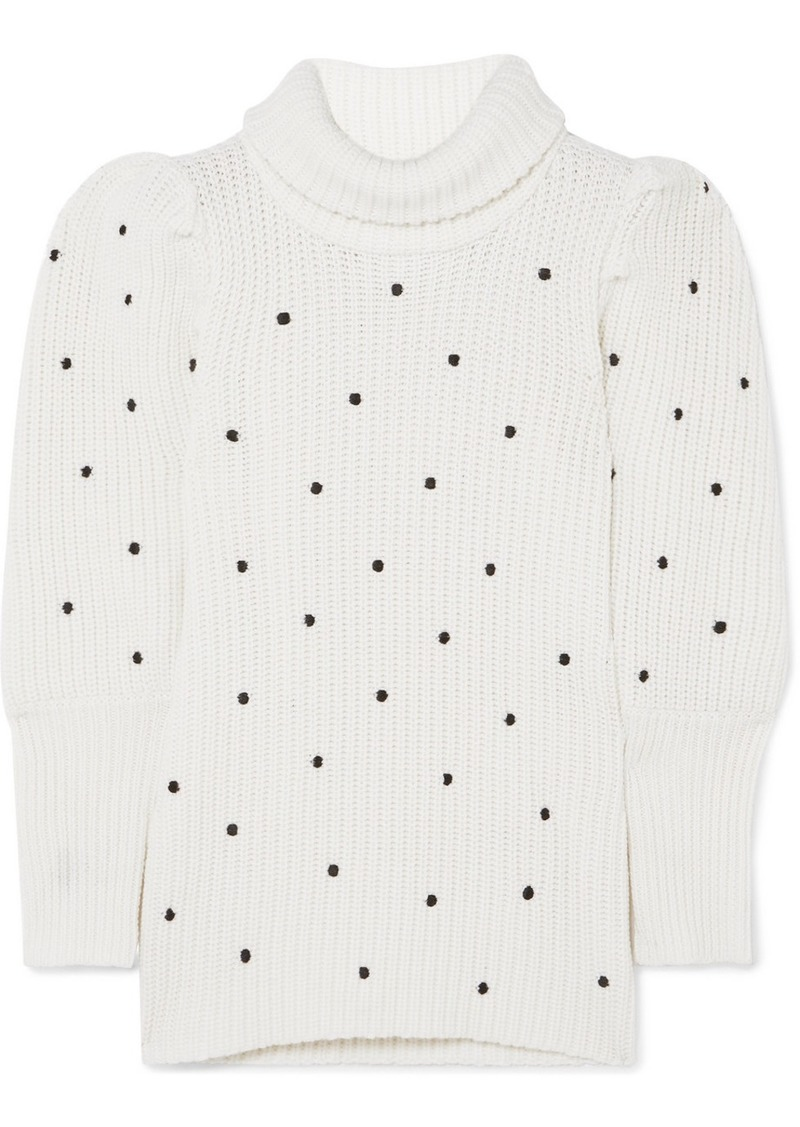 PAPER London Embroidered Ribbed Wool Sweater