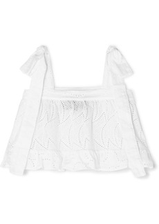 PAPER London Emely Cropped Ruffled Broderie Anglaise Cotton Top