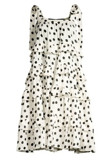 PAPER London Emely Polka Dot Silk Tiered Dress