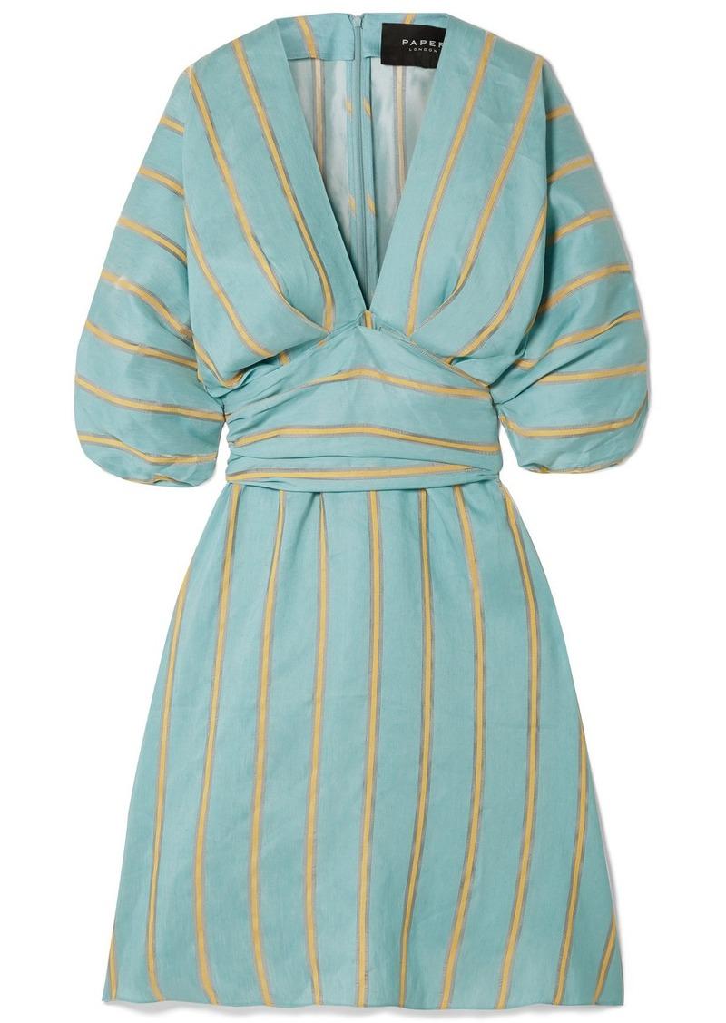 PAPER London Kaia Striped Linen-blend Dress