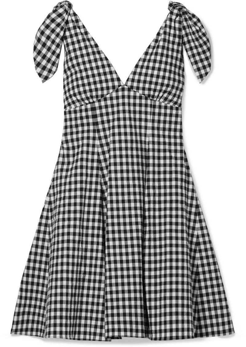 PAPER London Lily Gingham Cotton-blend Seersucker Mini Dress