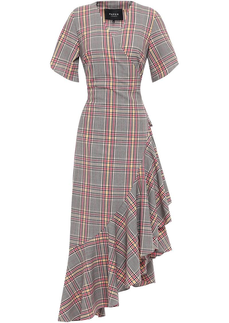 Paper London Woman Lagos Asymmetric Checked Woven Wrap Dress Black