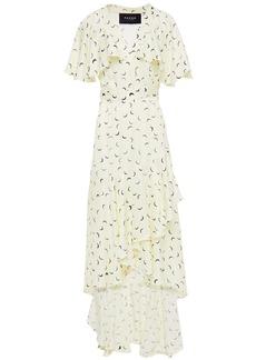 Paper London Woman Canyon Asymmetric Printed Satin-crepe Wrap Dress Pastel Yellow