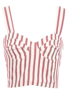 Paper London Woman Sophie Cropped Striped Woven Top Off-white