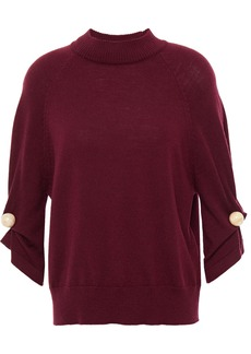 Paper London Woman Flame Embellished Wool Sweater Burgundy