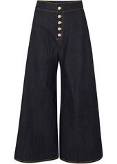 Paper London Woman High-rise Wide-leg Jeans Dark Denim