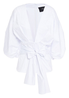 Paper London Woman Kaia Gathered Cotton-blend Sateen Top White