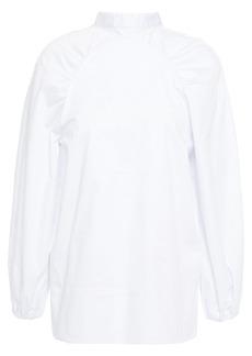 Paper London Woman Luna Gathered Cotton-blend Sateen Top White