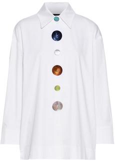 Paper London Woman Madonna Tie-back Button-detailed Cotton-blend Poplin Shirt White