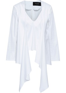 Paper London Woman Tie-front Floral-print Crepe Blouse White