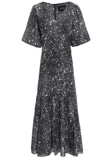 Paper London Woman Montpellier Gathered Printed Crepe Maxi Dress Black