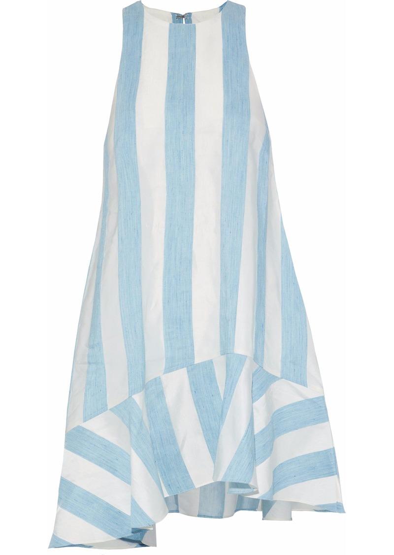 Paper London Woman Paneled Taffeta And Gauze Mini Dress Light Blue