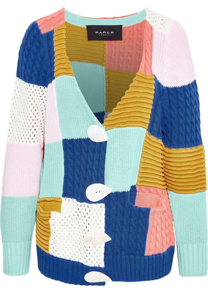 Paper London Woman Patchwork Color-block Cotton Cardigan Multicolor