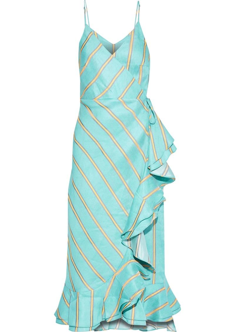 Paper London Woman Peonie Ruffled Striped Linen-blend Midi Wrap Dress Turquoise