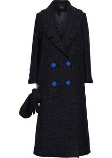 Paper London Woman Rainbow Double-breasted Metallic Felt Coat Midnight Blue