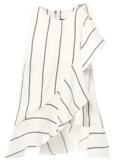 Paper London Woman Bonnie Ruffle-trimmed Striped Linen-blend Top Ivory