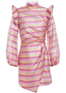 Paper London Woman Spice Ruffled Printed Satin-crepe Mini Dress Pink