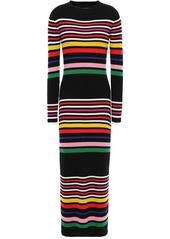 Paper London Woman Rave Striped Ribbed Wool Midi Dress Black
