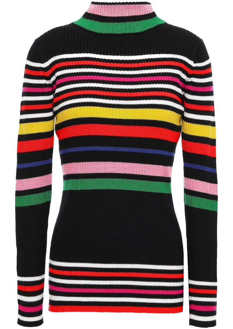 Paper London Woman Striped Ribbed Wool Sweater Multicolor