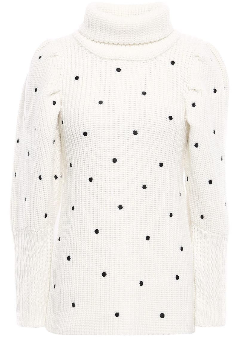 Paper London Woman Bill Swiss-dot Wool Turtleneck Sweater Off-white