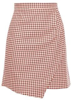 Paper London Woman Ten Wrap-effect Houndstooth Cotton-jacquard Mini Skirt Pink