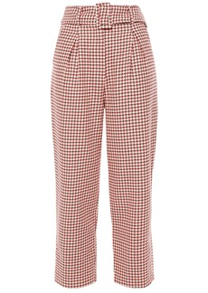 Paper London Woman Tulip Cropped Houndstooth Cotton-jacquard Tapered Pants Peach