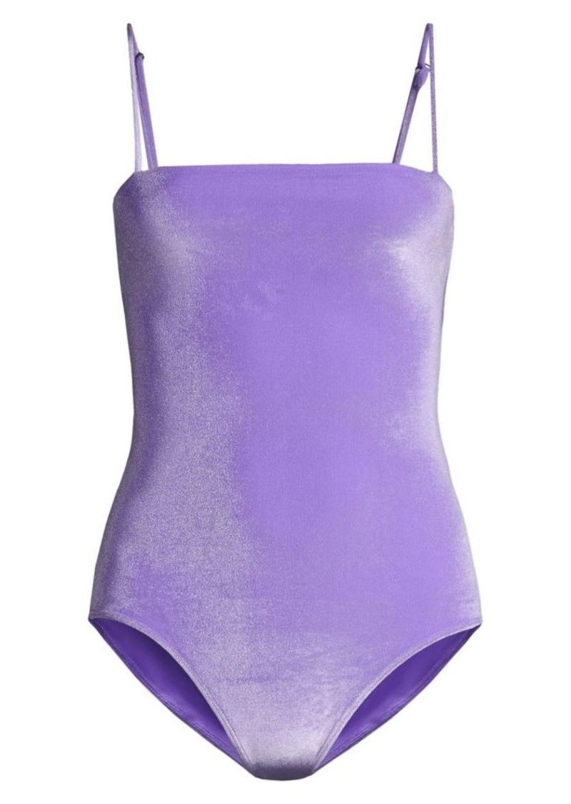 PAPER London Sing Ray Stinga Velvet Lilac One-Piece Swimsuit