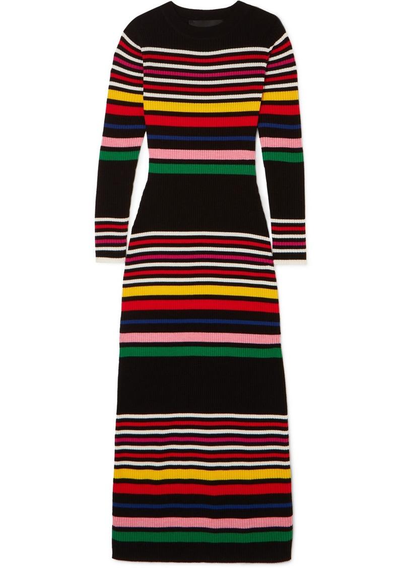 PAPER London Striped Ribbed Wool Midi Dress