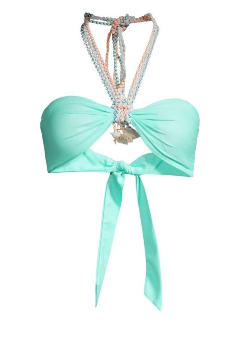 PAPER London Woven Trim Halter Bandeau Bikini Top