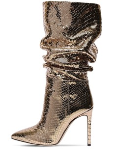 Paris Texas 105mm Python Print Leather Tall Boots
