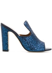 Paris Texas block heel glittered mules